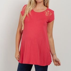 PinkBlush coral solid lace accent top